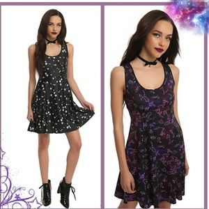 S  Galaxy Print Reversible Fit & Flare skater